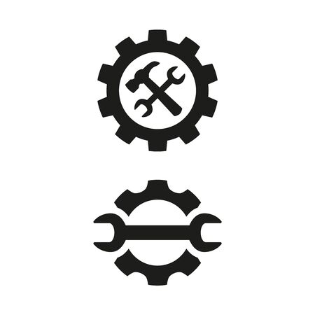 Service tool icons on white background. Vector illustration Illusztráció