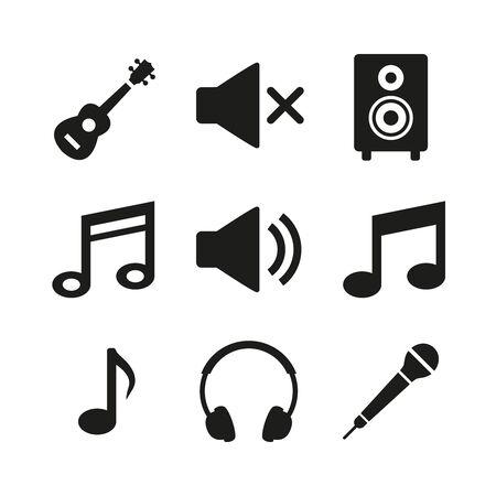 Music icons set on white background. Vector Illustration