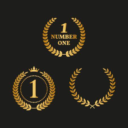 Set of golden laurel wreaths on black background. Vector Illustration Vector Illustratie