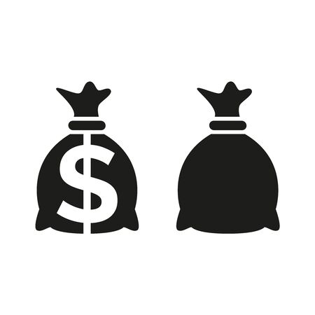 Money bag icons on white background. Vector Illustration