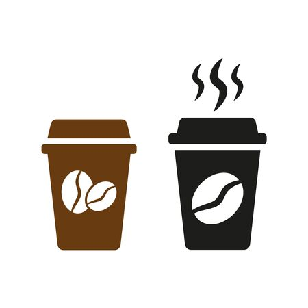 Disposable coffee cup icons on white background. Vector illustration