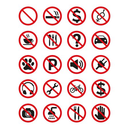 Prohibition signs set safety on white background. Vector illustration Standard-Bild - 138340372