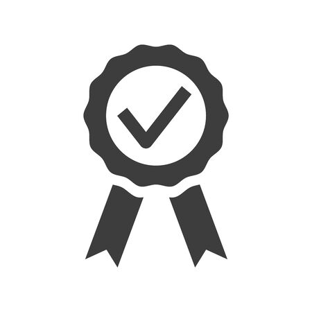 Certified medal icon on white background. Vector illustration
