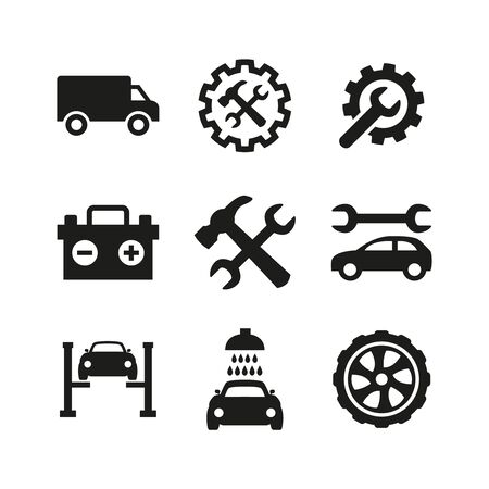 Car service and repair icons set on white background. Vector illustration Ilustrace