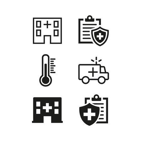 Medical icons set on white background. Vector illustration