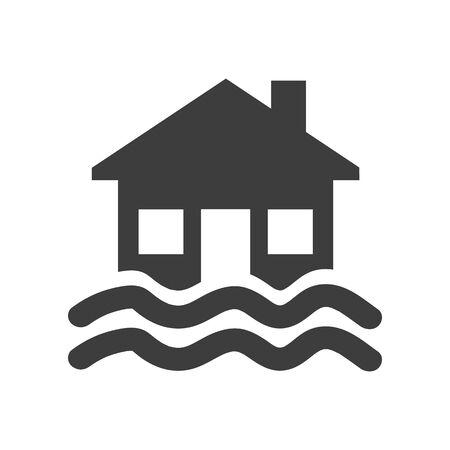 Icône d'inondation sur fond blanc. Illustration vectorielle Vecteurs