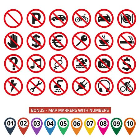 Prohibition signs set safety on white background. Vector illustration 일러스트