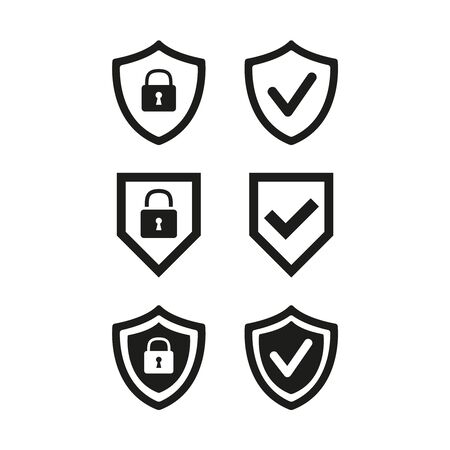 Shield with security and check mark icon on white background. Vector illustration Иллюстрация