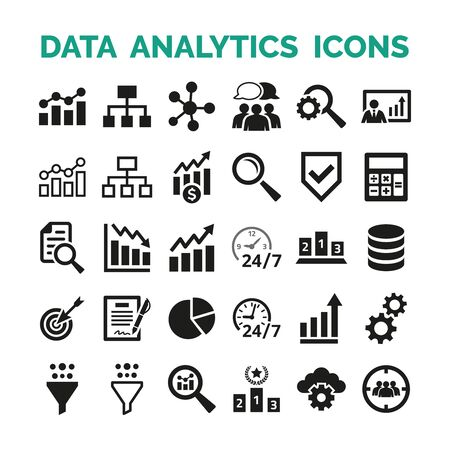 Data analytics icons set on white background. Vector Illustration
