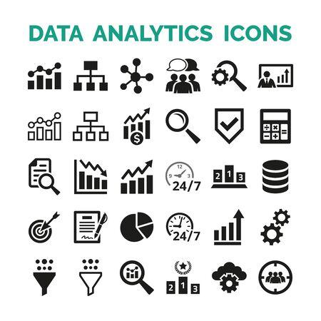 Iconos de análisis de datos en fondo blanco. Ilustración vectorial