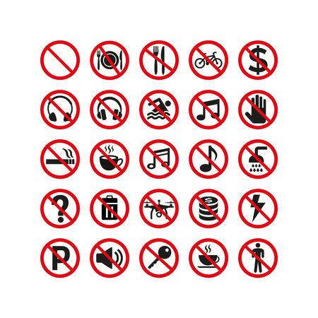 Prohibition signs set safety on white background. Vector illustration Vettoriali