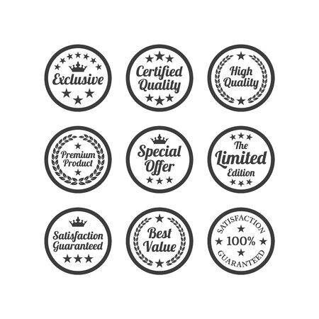 Collection of flat labels on white background. Vector illustration