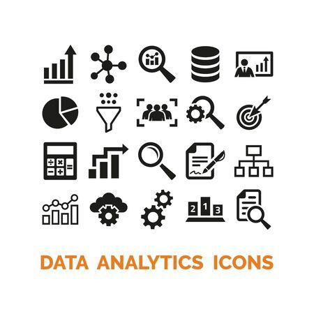 Data analytics icons set on white background. Vector Illustration