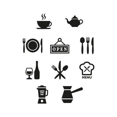 Restaurant and cafe icons set on white background. Vector illustration Vektorgrafik