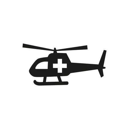Medical helicopter icon on white background. Vector illustration