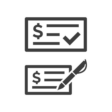 Money check icon on white background. Vector illustration