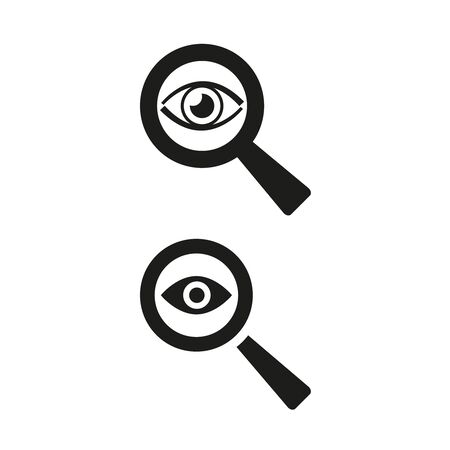 Eye icon with a magnifying glass on white background. Vector Illustration Ilustração