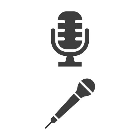 Microphone icon on white background. Vector illustration