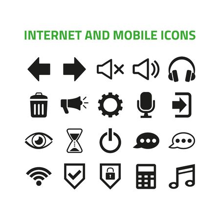 Internet and mobile icons set on white background. Vector illustration Ilustração