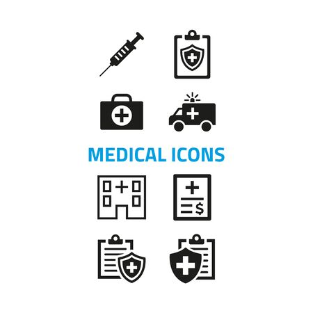 Medical icons set on white background. Vector illustration