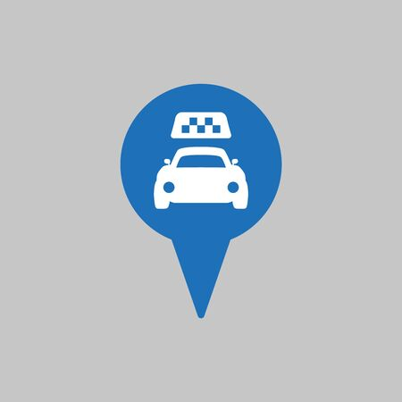 Map pointer with taxi icon on grey background. Vector illustration