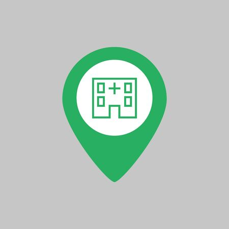 Map pointer with hospital icon on grey background. Vector illustration Ilustração