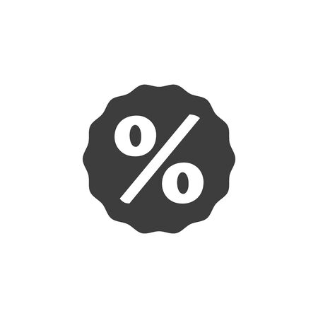 Discount percent tag icon on white background. Vector illustration