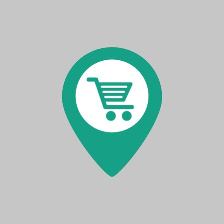 Map marker with shopping cart icon on grey background. Vector illustration