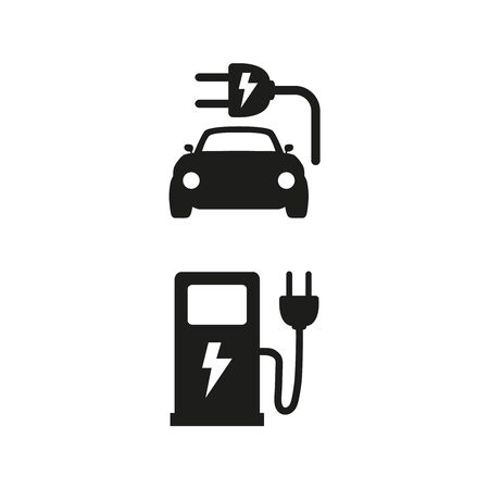 Electric fuel and electric car icons on white background. Vector Illustration