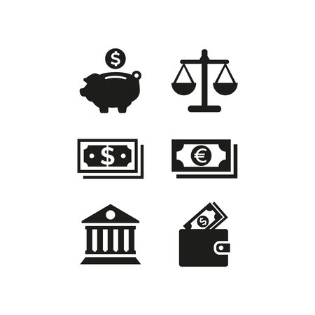 Business and finance icons set on white background. Vector illustration