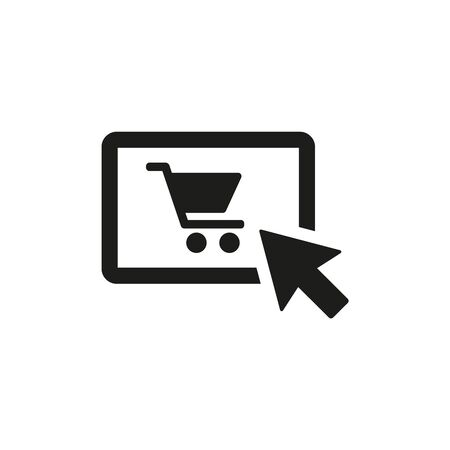 Online shopping icon on white background. Vector illustration Ilustração