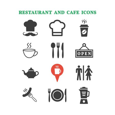 Restaurant and cafe icons set on white background. Vector illustration Imagens - 149048717