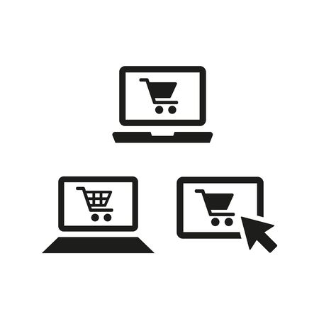 Online shopping icons on white background. Vector illustration Ilustração