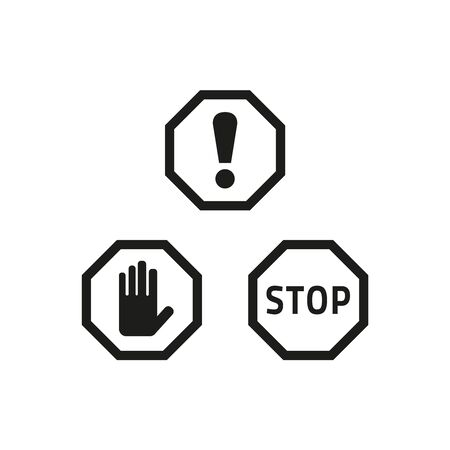 Stop and attention sign icons on white background. Vector Illustration