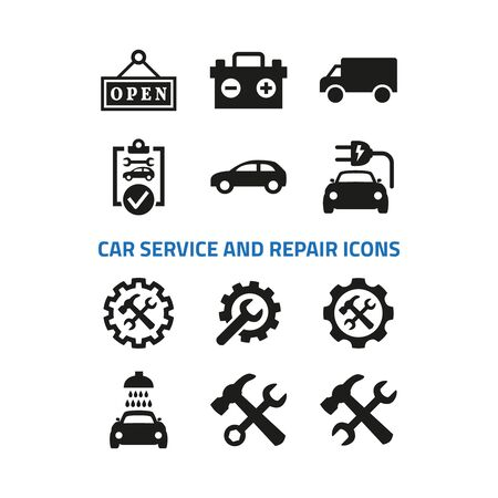Car service and repair icons set on white background. Vector illustration Ilustração