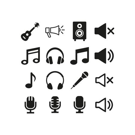 Music and audio icons set on white background. Vector Illustration