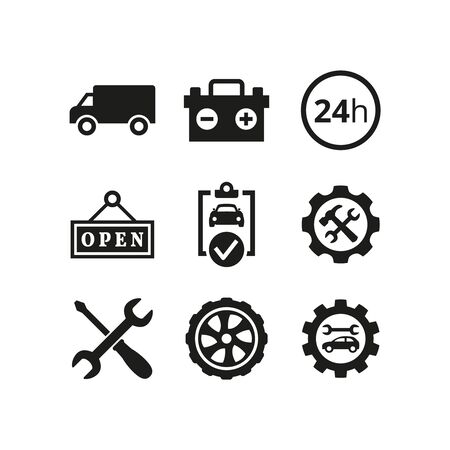 Car service and repair icons set on white background. Vector illustration Archivio Fotografico - 149593888