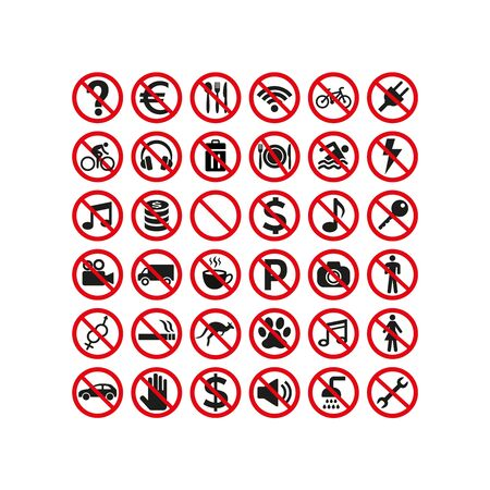 Prohibition signs set safety on white background. Vector illustration Ilustração