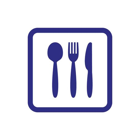 Knife, fork and spoon on white background. Vector illustration