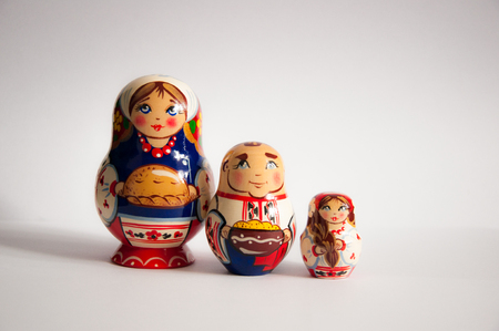 Matryoshka family on the white background