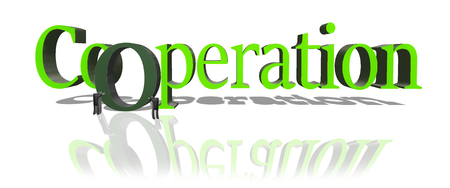 Cooperation 3D illustration. Two stickmen push the O letter into the whole Cooperation word. Concept of helping each other to achieve common success. Stock Photo