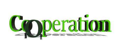 Cooperation 3D illustration. Two stickmen push the O letter into the whole Cooperation word. Concept of helping each other to achieve common success. Stock Illustration - 119414512