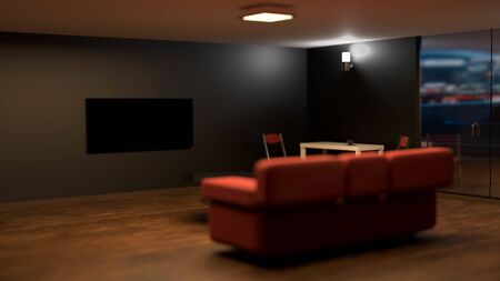 3D rendering of room with blank black plasma TV in focus, with red sofa in the middle. Home cinema advertisment mockup. Soft and dim lighting, wooden floor and reflections in glass doors 免版税图像