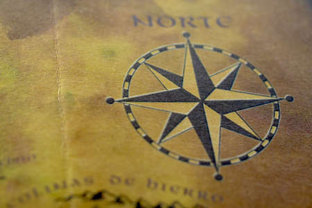 magnetic north: old map with compass