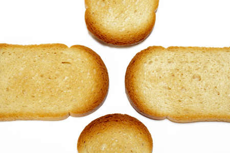 Slices of toasted  bread background Stock Photo - 359338