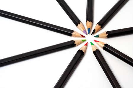 aligned: Colored school pencils
