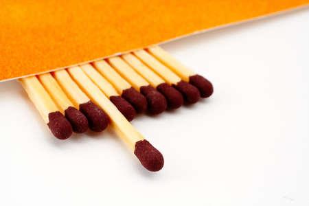 One match stick spent among match sticks. Macro photo