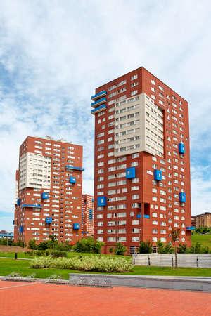 block of flats: Block of flats on the blue sky Stock Photo