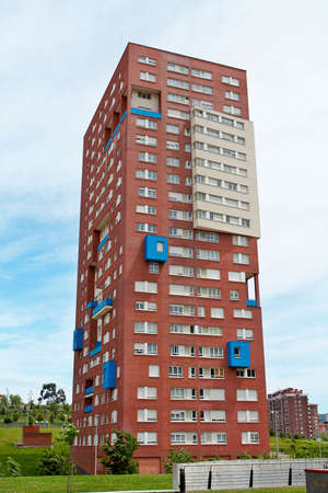 social apartment: Block of flats on the blue sky Stock Photo