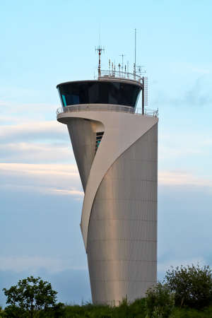 air traffic: Air Traffic Control Tower on blue sky Stock Photo